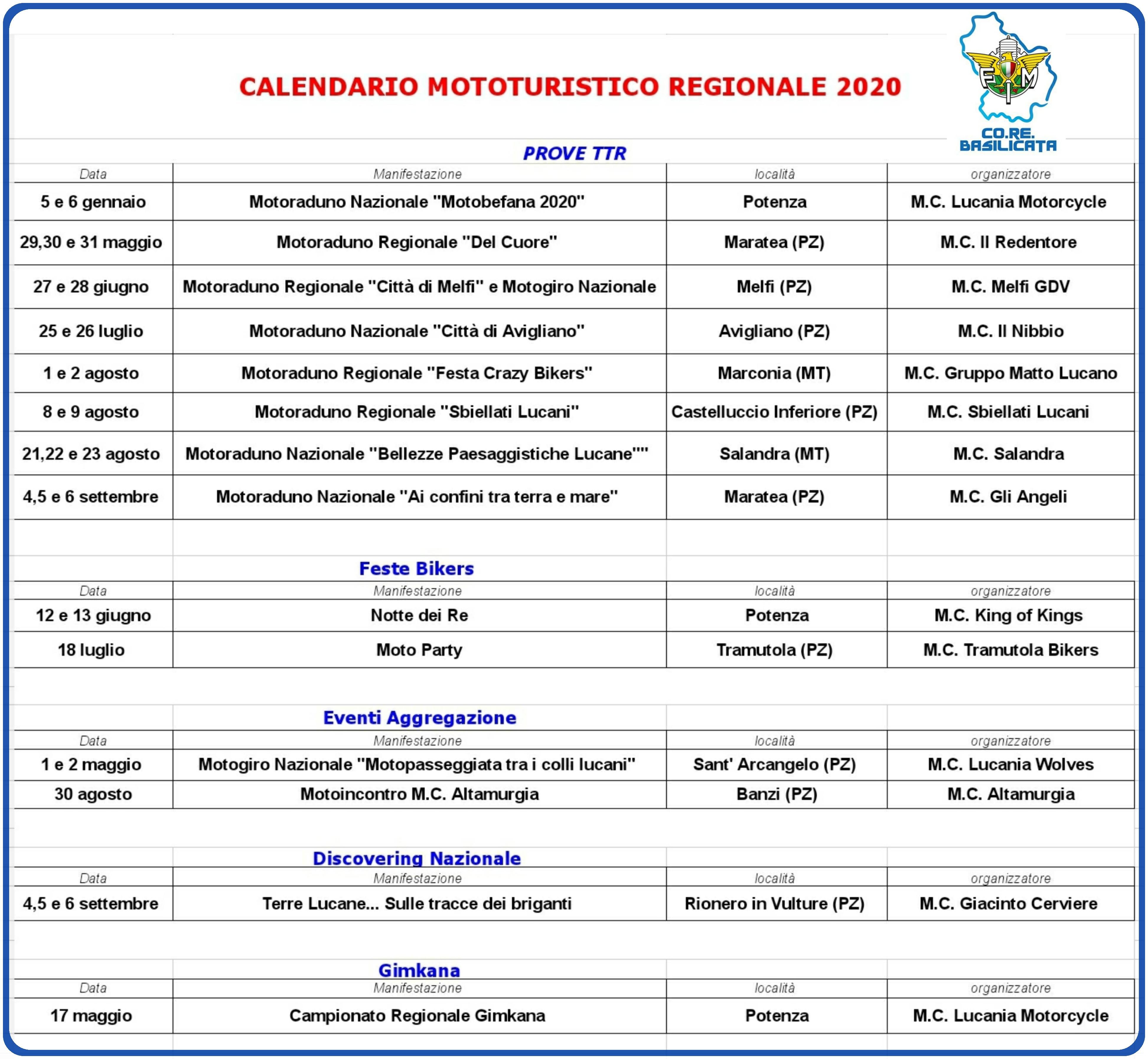 Calendario Motocavalcate 2020   Fmi Comitato Regionale Basilicata